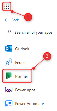 The O365 app launcher with the Planner app highlighted.