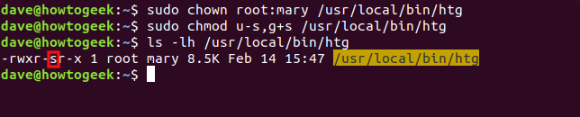 "The ""sudo chown root:mary /usr/local/bin/htg,"" ""sudo chmod u-s,g+s /usr/local/bin/htg,"" and ""ls -lh /usr/local/bin/htg"" commands in a terminal window."