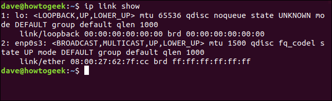 "The ""ip link show"" command in a terminal window."