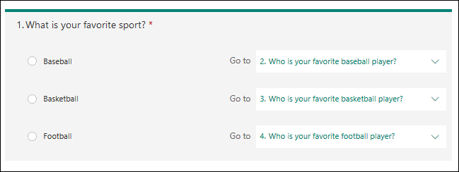 The choice question with brnaching chosen for each option.