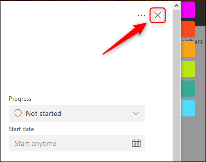 """The """"X"""" in the top-right corner of the Task window."""