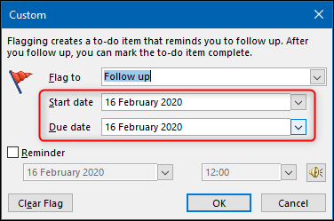 "The ""Custom"" panel with the ""Start date"" and ""Due date"" options highlighted."