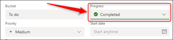 The Progress field showing the task as completed.