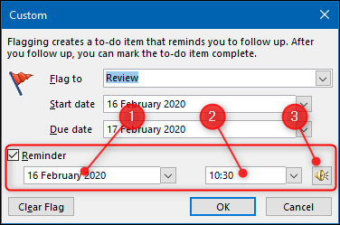 """Select the checkbox next to the """"Reminder"""" option, and then choose a date, time, and alert sound."""