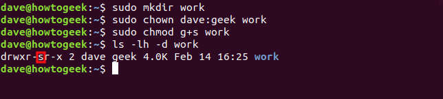 "The ""sudo mkdir work,"" ""sudo chown dave:geek work,"" ""sudo chmod g+s work,"" and ""ls -lh -d work"" commands in a terminal window."