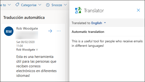 The translation shown side by side with the original mail.
