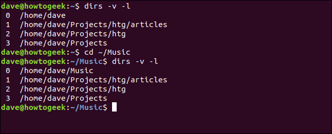"The ""dirs -v -l,"" ""cd ~/Music,"" and ""dirs -v -l"" commands in a terminal window."