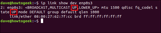 "The ""ip link show enp0s3"" command in a terminal window."