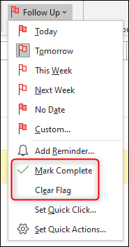 "Click ""Mark Complete"" or ""Clear Flag."""
