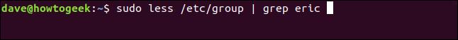 sudo minus / etc / group |  grap eric in a terminal window