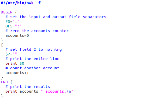 Example of an awk script in an editor.