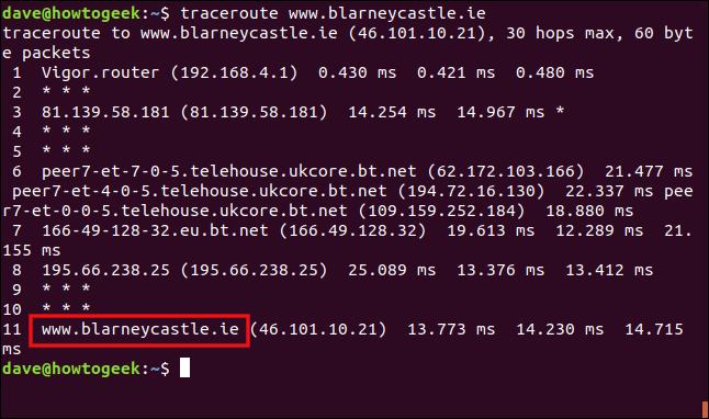 "The ""traceroute www.blarneycastle.ie"" command in a terminal window."