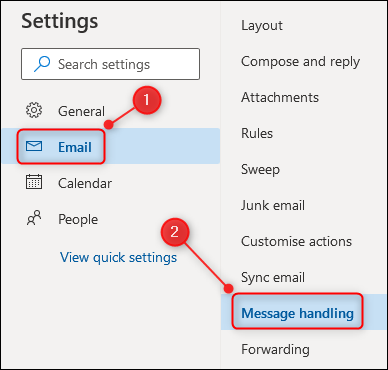 """Outlook's settings, with the """"Message handling"""" option highlighted."""