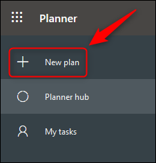 """The Planner menu with the """"New plan"""" option highlighted."""