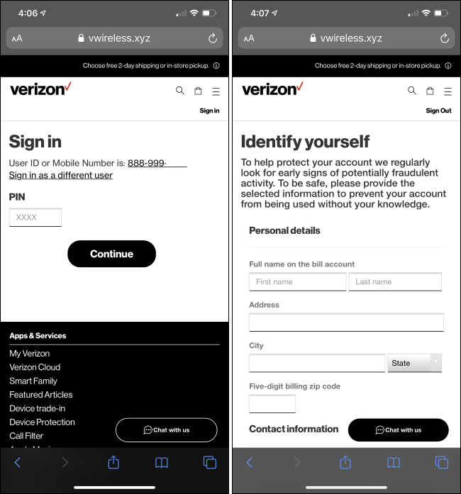 A phishing website impersonating Verizon.