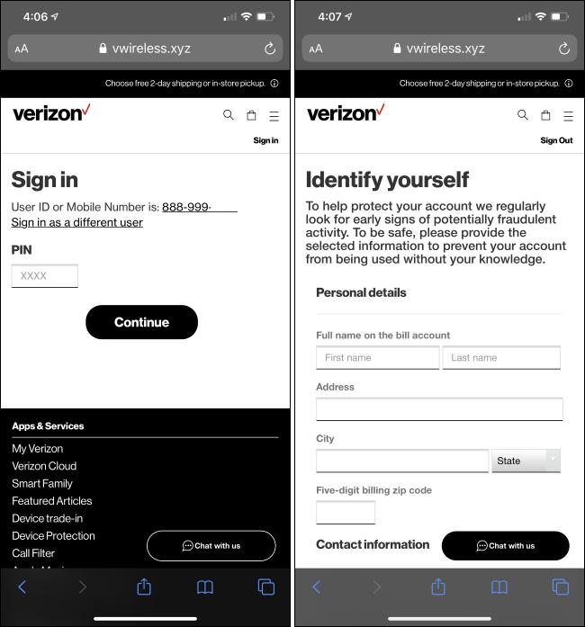 Un sitio web de phishing que se hace pasar por Verizon.