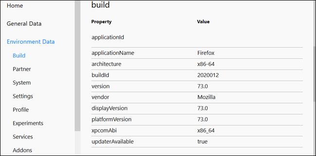 Build information relating to the machine running Firefox.