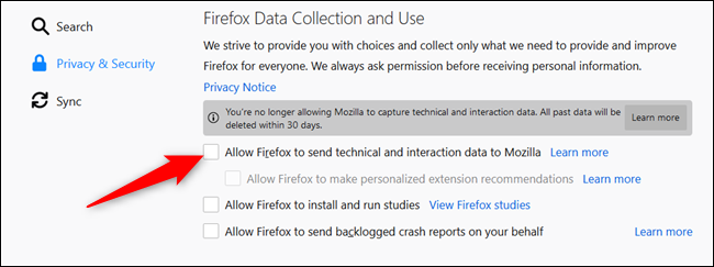 Untick the following setting to disable telemetry collection.