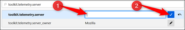 Delete the server information and click the check mark to save changes.