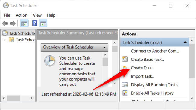 "Click ""Create task"" to create a new task."