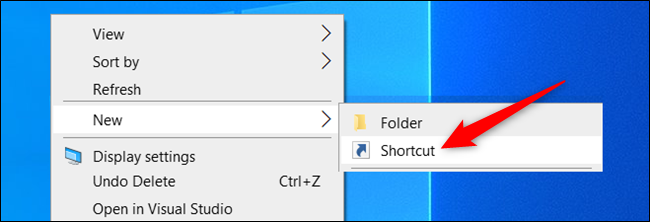 Create a new Shortcut on the desktop.