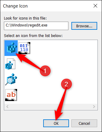 "Choose an icon from the list and click ""OK"" when done."