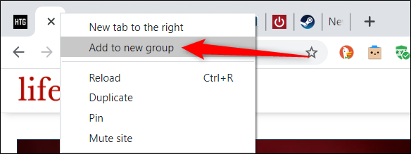 "Right-click a tab and choose ""Add to new group"" from the context menu."