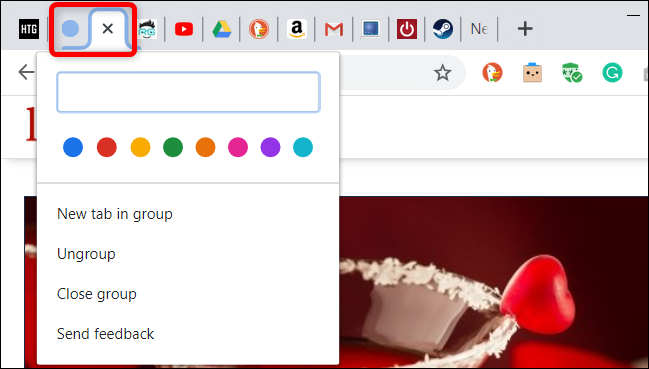 Click on the colored circle to open up the Tab Groups menu.
