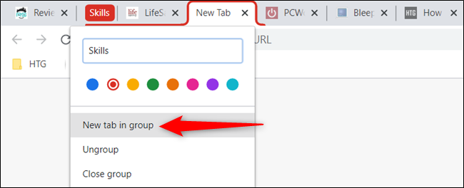 Open a new tab and group it immediately in the current tab group.