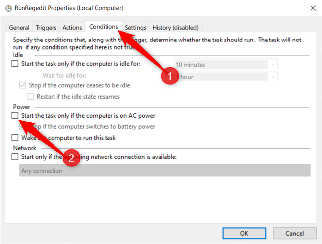 "Untick the box next to ""Start the task only if the computer is on AC power."""