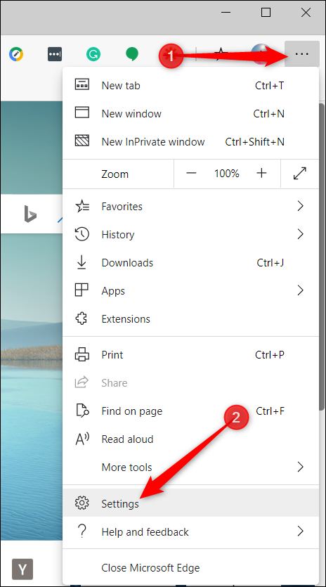 """Click the three dots, and then click on """"Settings."""""""