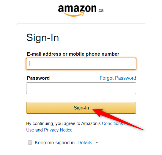 """Type your Amazon credentials, and then click """"Sign-in."""""""