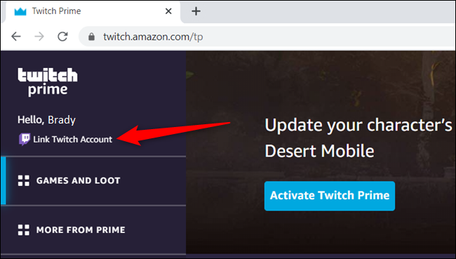 """Click """"Link Twitch account."""""""