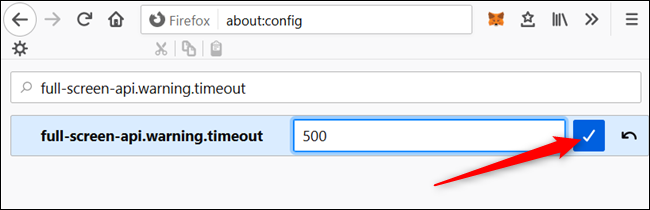 Enter a timeout value---in milliseconds---and click the checkmark.