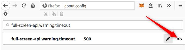 Regrese a la página de Preferencias avanzadas y haga clic en la flecha de reinicio en el extremo derecho de la configuración de pantalla completa-api.warning.timeout