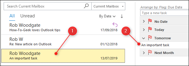 An email that's been flagged, and is now highlighted in yellow and appears in the task list.