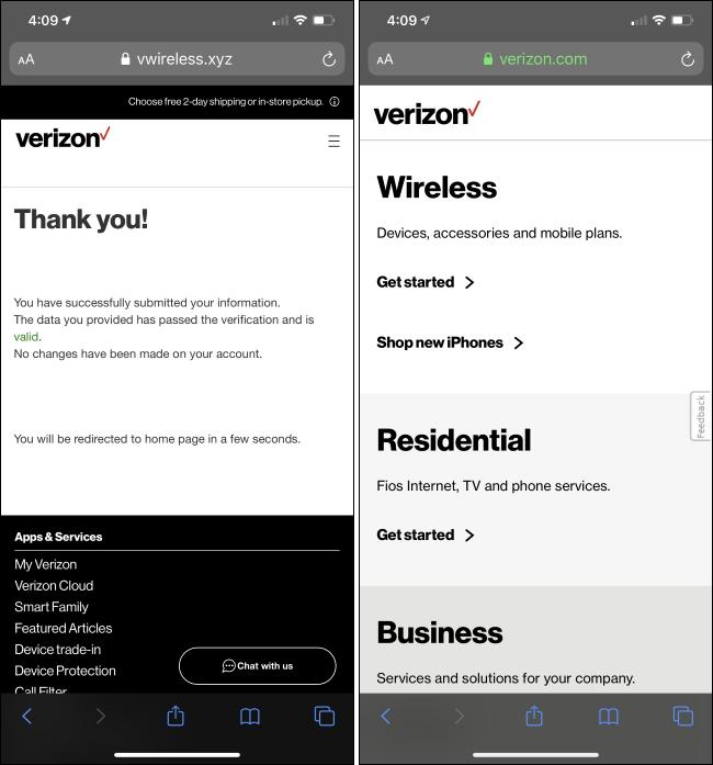 A Verizon smishing website after you've entered personal details.