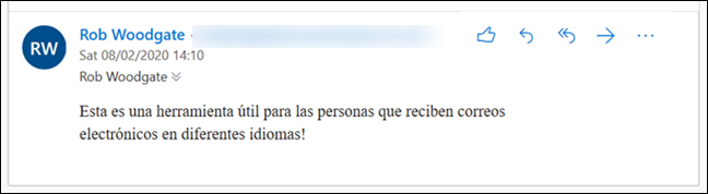 An email with the message in Spanish.