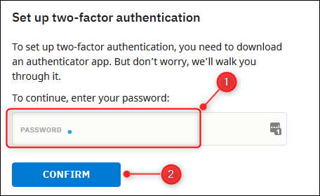 The Password box and Confirm button.
