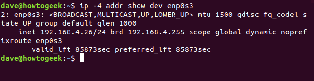 "The ""ip -4 addr show dev enp0s3"" command in a terminal window."