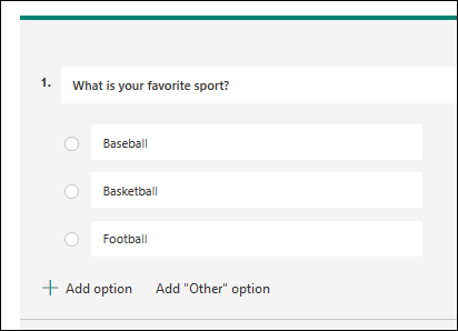 A question with 3 choices to choose from.