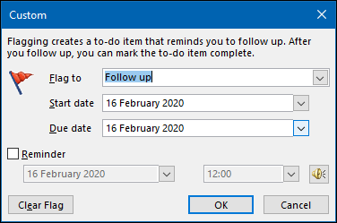 "The ""Custom"" panel in Outlook."
