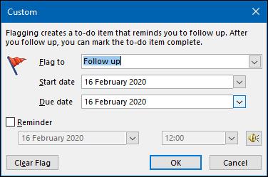 "The ""Custom"" panel in Outlook."