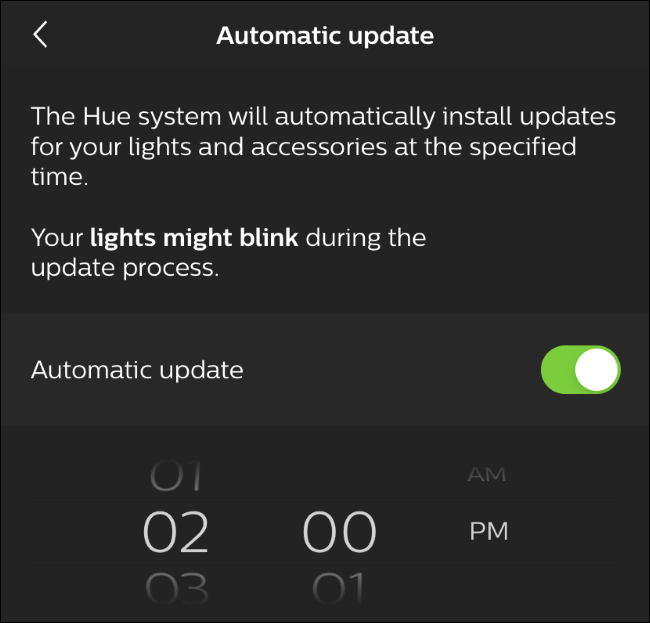 Automatic update options in the Hue app