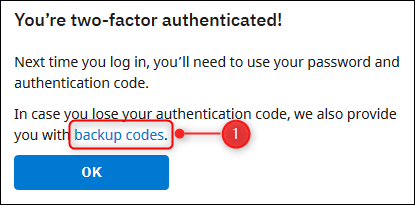 The link to get backup codes.