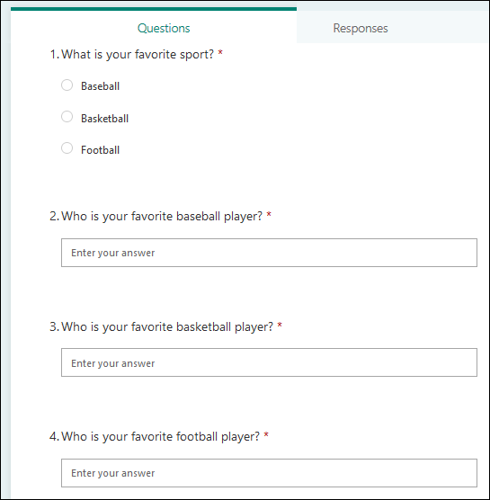 The complete form, with 1 choice question and 3 text questions.
