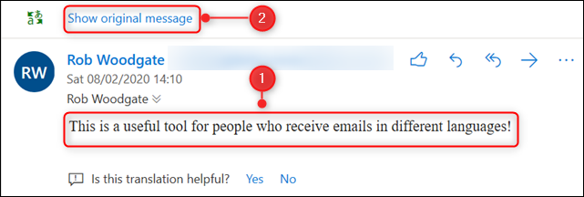 """The translated mail with the """"Show original message"""" option highlighted."""