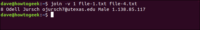 "The ""join -v file-1.txt file-4.txt"" command in a terminal window."