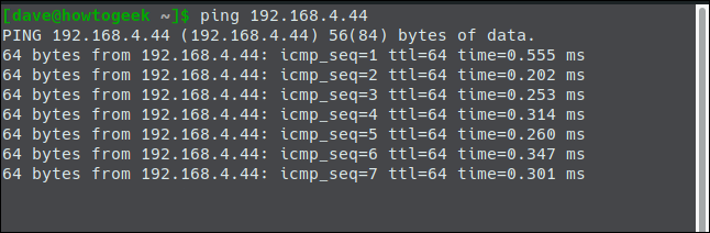 "The ""ping 192.168.4.44"" command in a terminal window."