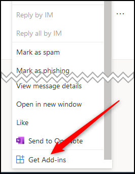 """The pop-up menu with the """"Get Add-ins"""" option highlighted."""